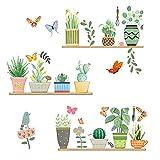 burkfeeg Pegatinas de Pared de Planta Acuarela Cactus Verdes Decorativas Vinilos Adhesivos Pared Pegatinas para Niños Habitación Dormitorio Decoracion Cartel Mural (30*90cm)