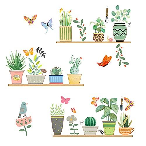 burkfeeg Stickers Muraux Sticker Mural Plantes Amovible Autocollant Mural PVC Murale Décoration Murale pour Salon Cuisine Pépinière Chambre (30*90 cm, 2 pcs)