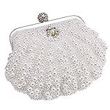 MMYOMI Vintage Floral Perlen Clutch Hochzeit Prom Bag Braut Damen Crossbody Abend Handtasche (Weiß...