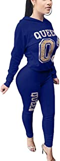 Women's 2 Piece Letter Print Outfits Long Sleeve Pullover Hoodie Bodycon Long Pants Tracksuit Set