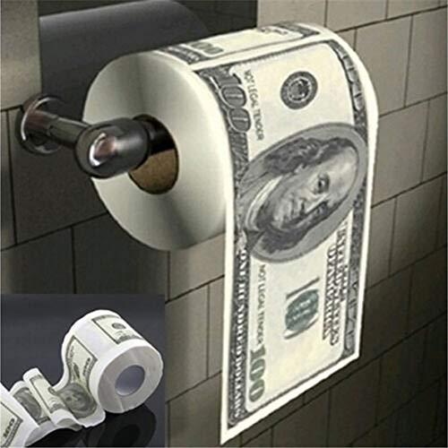 KTSWP Papel higiénico Donald Trump $100 DóLar Humour Papel HigiéNico Factura Rollo De Papel HigiéNico Novedad Mordaza Regalo Basurero Divertido Mordaza Regalo Caliente,B,10pc