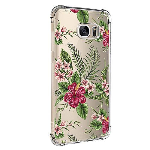 Jeack Hülle kompatibel mit Samsung Galaxy S7 hülle, Floral Motiv Handyhülle Slim Silikon Case Cover Schutzhülle Dünn Durchsichtig Handy-Tasche Back Cover Transparent Bumper für Galaxy S7 (6)