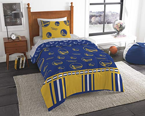 Officially Licensed NBA Golden State Warriors Twin Bed in a Bag Set, 64' x 86', Blue