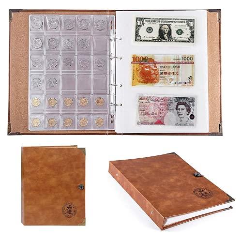 Primst Raccoglitore per Monete Album, Raccolta di Monete per Album di Libri per Collezionisti, Contiene 150 Monete e 240 Pezzi di Carta Moneta, Supporti per la Raccolta di valute