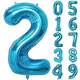 Unisun - Globo numérico de 40 pulgadas, globo helio azul 0 1 2 3 4 5 6 7 8 9 Globos números grandes, globos edad, fiesta cumpleaños, ocasiones románticas, bodas, suministros aniversario, decoración