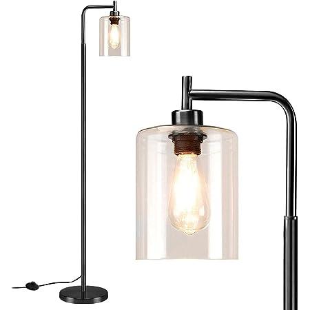 Depuley Lampadaire LED minimaliste moderne, lampe sur pied noire en verre et métal, E27, lampe sur pied pour salon, max. 60 W, lampe de lecture pour bureau, chambre à coucher, studio (avec ampoule)