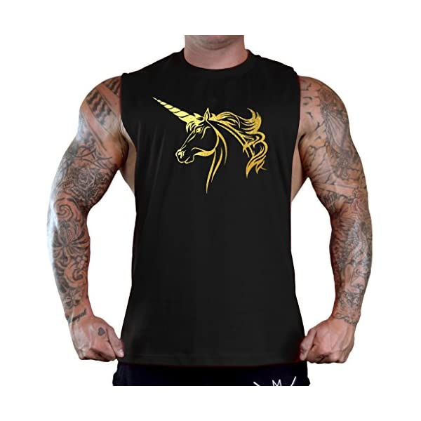 Men's Gold Foil Unicorn Black Sleeveless T-Shirt Tank Top 3