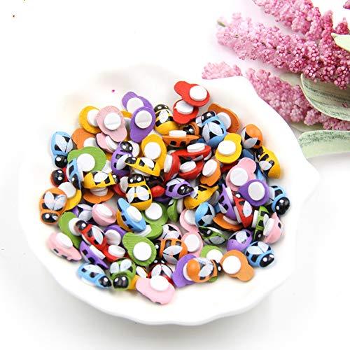 YiniKape 100PCS Abeja Pegatinas de Colores de Madera Mariquita Esponja autoadhesivasLas Nevera/Etiqueta de la Pared para niños Scrapbooking Juguetes decoración del hogar