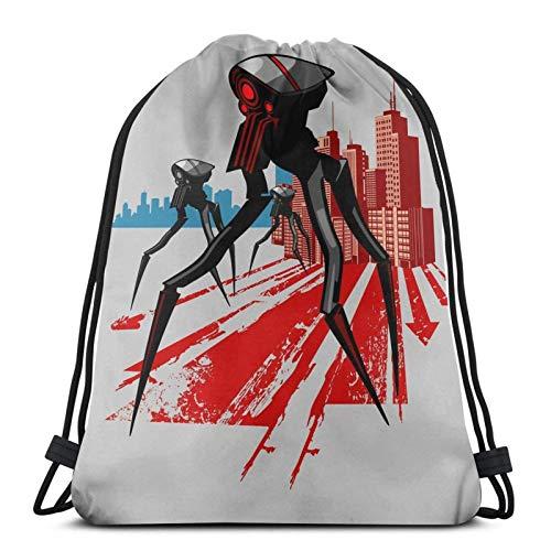 Trippy Skull Variety Face Towel Drawstring Backpack Sport Bag Gym Sack Style 7