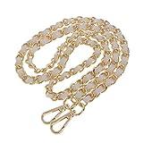 Bolso de metal + cuero para el hombro, correa de cadena, manivela para bolso de mano, cadena de repuesto, 120 cm, color dorado y blanco