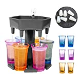 Upgrade 6 Shot Glass Dispenser Holder With 6 leak plugs,Dispenser For Filling Liquids, Home Party Bar Shot Dispenser Cocktail Dispenser Carrier Liquor Drinking Glass Dispenser (6 Cups Included)