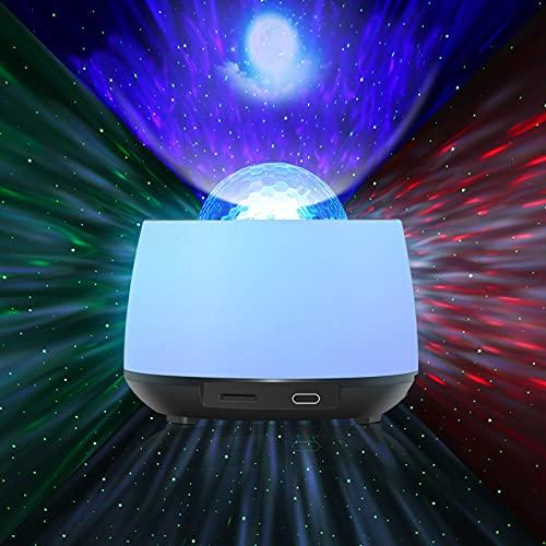 Sternenhimmel Projecktor, Sternlicht 360 Grad Projector und Nacht Farbwechsel Lampe rotierende Ozeanwelle Bühnenlicht Touch Panel /Fernbedienung Bluetooth Music Player für Schlafzimmer / Ballsaal