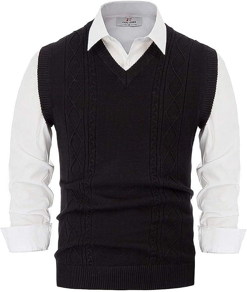 PJ PAUL JONES Mens Cable Knit Sweater Vest V Neck Slim Fit Sleeveless Pullover Sweater Vests