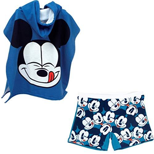 Bañador Mickey Mouse Tipo Bóxer para niños + Poncho Mickey Mouse Toalla para Playa o Piscina (6 años, Modelo 1)