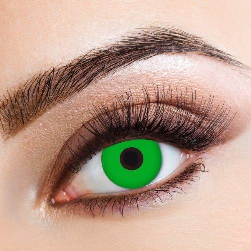 aricona Kontaktlinsen - Grüne Kontaktlinsen stark deckend ohne Stärke - Farbige Kontaktlinsen Motivlinsen für Karneval, Fasching, Cosplay und Motto-Partys, 2 Stück
