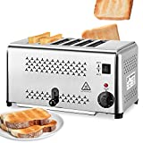 NEWTRY Commercial Toaster 6 Slice Toaster Heating Machine 0.8'' Stainless Steel Adjustable for Hotel Family Breakfast (110V US Plug)