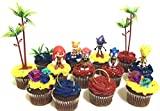 Classic SONIC THE HEDGEHOG Birthday CUPCAKE Topper Set Featuring Super Sonic, Amy Rose, Miles Tails Prower, Sonic, Metal Sonic and Knuckles, Themed Decorative Accessories - Figures average 2.5' Tall