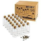 RUBY - 96 Botellas de Deseo 30 x 60mm(25 ml Aprox), Mini Botellas de Cristal con Tapones de Corcho, Mensaje, Deseo de Fiesta de Bodas. (96 PCS, 60 x 30mm)