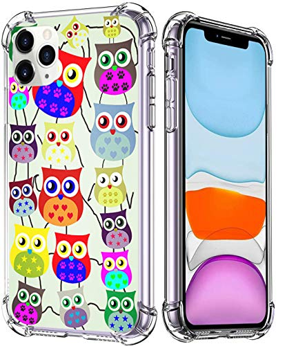 Ecute Military Clear Grade Protection [Air Armor Designed] Case Cover Compatible with iPhone 12 Pro Max 6.7 inch 2020 Released - Cute Owls