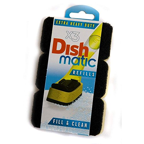 3 Extra Heavy Duty Dishmatic Black Refill Sponges by Dishmatic