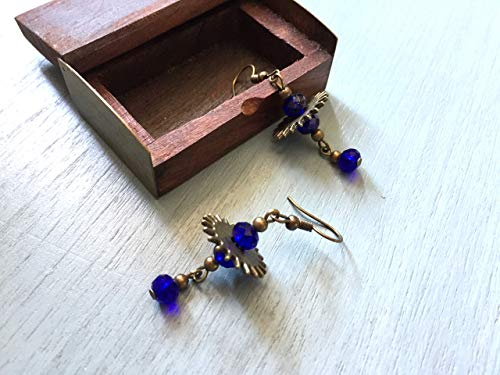 Unusual brass earrings with watch cogs and shimmering blue glass beads, vintage inspired jewelry, Selma Dreams gifts for her