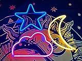 Letrero LED de neón, luces USB/pilas, 3 paquetes neón (nube rosa, estrella azul, luna blanca cálida), luz nocturna, iluminación fiesta dormitorio o boda.