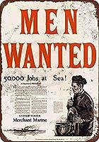Men Wanted 金属板ブリキ看板警告サイン注意サイン表示パネル情報サイン金属安全サイン