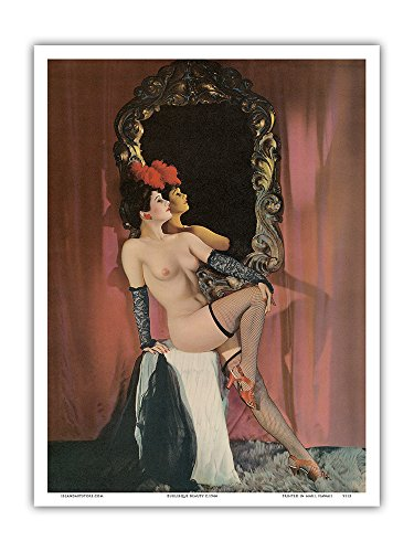 Burlesque Beauty - Stocking Clad Showgirl - Vintage Nude Pin Up Calendar Page c.1944 - Master Art Print - 9in x 12in