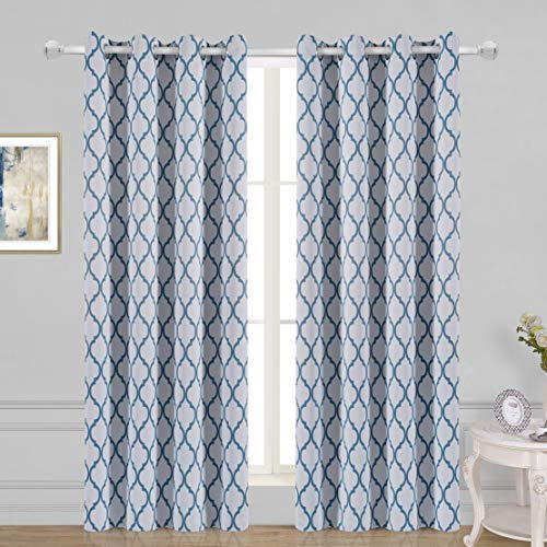 WONTEX Lattice Printed Thermal Insulated Blackout Curtains, Grommet Room Darkening Curtains for Living Room and Bedroom, Set of 2 Curtain Panels, 52 x 72 inch, White Teal