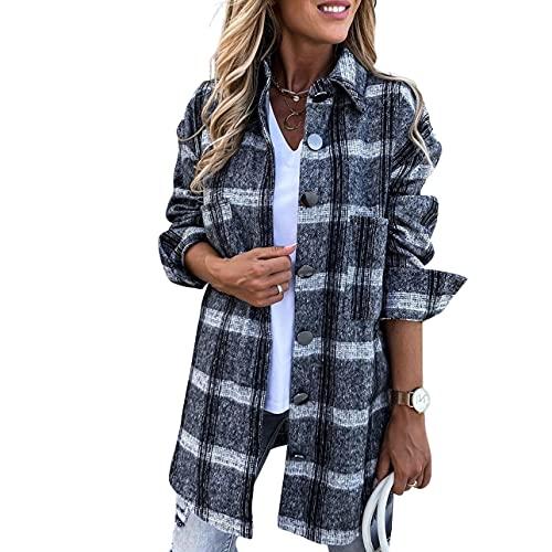 Pabuyafa Camisa de manga larga vintage de solapa a cuadros casual con botones para arriba, chaqueta de moda de...