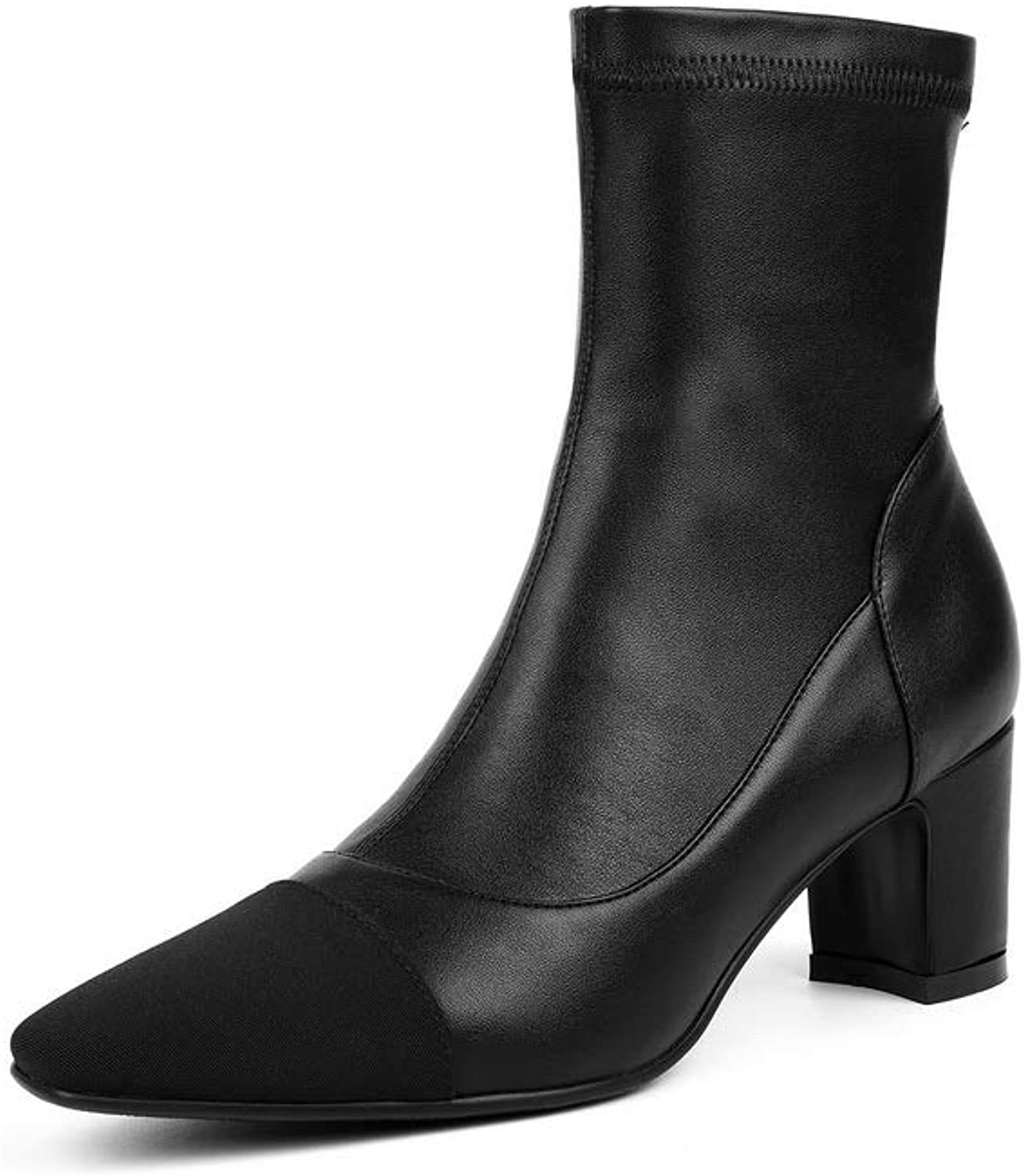 AN Womens Square Heels Chunky Heels Square-Toe Imitated Suede Boots DKU02751