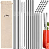 grilljoy 13pc Reusable Metal Straws for Drinks with 2 Cleaning Brushes - Various Stainless Steel Straws with 4 Straight 4 Bent 2 Boba Straws - Eco Friendly Drinking Straws with Case for Tumbler Yeti