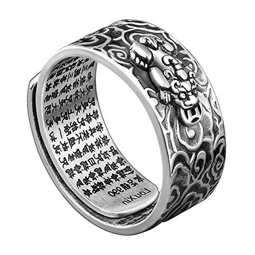 GJJSZ Feng Shui Pixiu Anillo Amuleto Amuleto Riqueza Suerte Budista Mantra Anillo Abierto Ajustable joyería Hombres Mujeres Personalidad Anillo Retro