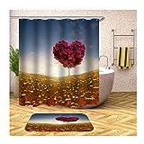 Anwaz Duschvorhang & Badteppich Set Anti-Schimmel aus Polyester Love Muster Design Bad Vorhang Badteppiche Bunt mit 12 Duschvorhangringen für Badewanne - 165x180CM/ 40x60CM