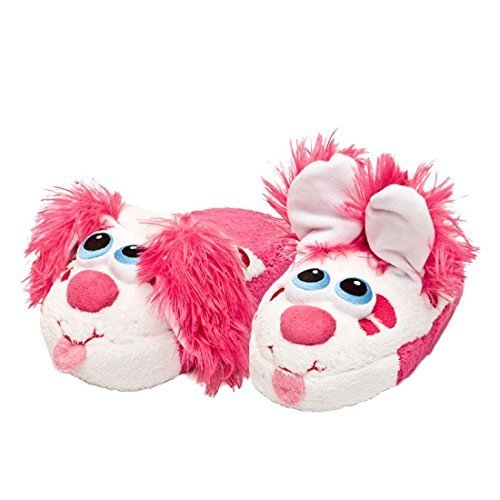 Stompeez Boys Girls Toddler House Slippers Perky Pink Puppy Kids Fur Lined Warm Slip On (Large)