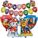 Globos de Cumpleaños Foil Helio Globo Banner de Happy Birthday Decoración para Paw Dog Patrol Fiesta de Cumpleaños