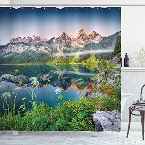 ABAKUHAUS Natur Duschvorhang, Österreichischer Alpen-Berg, Klare Farben aus Stoff inkl.12 Haken Farbfest Schimmel & Wasser Resistent, 175 x 220 cm, Grün-blauen