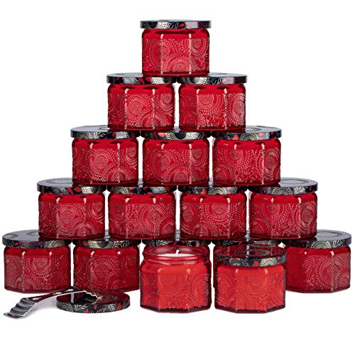 Octagon Ruby Red Embossed Glass Candle Container with Lid and Labels, 4 oz - Pack of 18
