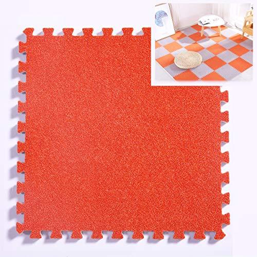 ZEHYRFGK tapijttegels / -matten, puzzel trainingsmat met in elkaar grijpende Eva-schuimtegels, afwasbaar/antislip, voor privégebruik, beschermende vloer, 32 x 32 cm, oranje