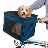 SNDMOR Canasta de Bicicleta para Mascotas-Canasta para Bicicleta para Perros-Cesta de Bicicleta para Mascotas extraíble-Plegable Carga máxima 4,5 kg(Azul Marino)