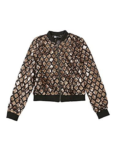 Allegra K Women's Sequin Long Sleeve Zipper Up Glitter Bomber Jacket Gold 8