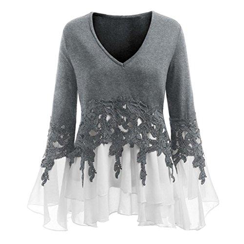 ESAILQ DamenSommer T-Shirt/Oberteile Kurzarm - Damen(XL,Grau)