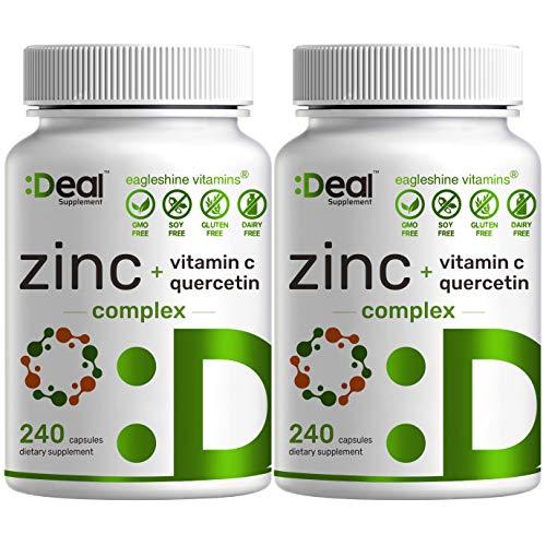 2 Pack of Eagleshine Vitamins Zinc 50mg with Vitamin C & Quercetin, 4-1 Zinc Complex, 480 Capsules, Elemental Zinc for Immune Support- Premium Zinc Quercetin Supplements
