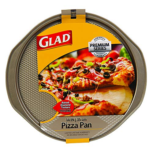 Glad Nonstick Large Pizza Pan for Oven | Round Baking Tray | Textured Cooking Sheet Crisper | Premium Bakeware Series for Home Kitchen, 14 Inch, Gold