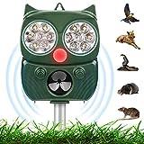 Solar Ultrasónico Repelente para Gatos, IP65 Ahuyentador de Gatos, 5 Modos Ajustable, Repelente Ultrasónico Animales Solar y USB, Ultrasónico Ahuyentador para Gatos Perros Ratones con LED que Destella