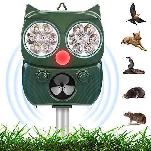 Repellente Gatti, Repellente per Animali, IP66 Professionale Repellente Ultrasuoni Solare, 5 modalità Regolabile, Animali Repeller Impermeabile con Sensore e LED, per Gatti, Cani, Topi, Uccelli