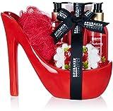 BRUBAKER Cosmetics Luxus Cranberry Beautyset - 6-teiliges Bade- und Dusch Set - Geschenkset in...