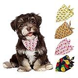 Kuoser - Confezione da 4 bandane per cani, con stampa triangolare in cotone, per cuccioli ...