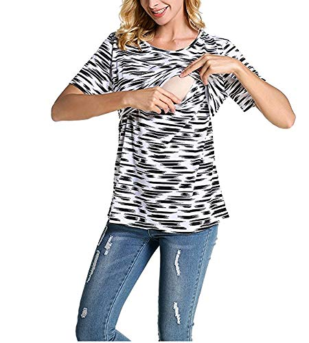 Product Image of the Fashion Women Short Sleeve Double Layer Maternity Nursing Tops Shirts for...