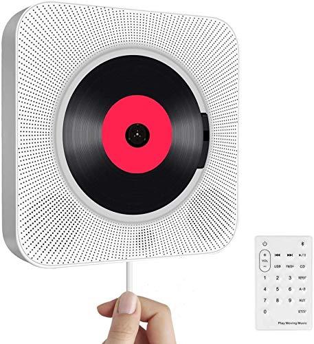 Reproductor de CD portátil con Bluetooth, Boombox de Audio para el hogar con Control Remoto Radio FM USB MP3 Conector de Auriculares de 3,5 mm Entrada/Salida AUX con Interruptor, Blanco